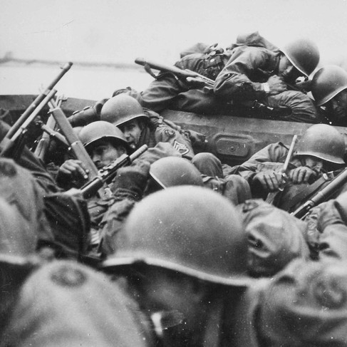"""""""I drew an assault boat to cross in - just my luck. We all tried to crawl under each other because the lead was flying around like hail."""" Crossing the Rhine under enemy fire at Saint Goar, March 1945"""""""