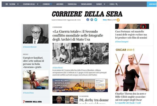 """la nostra mostra """"la Guerra Totale"""" anche nella home page di Corriere.it"""