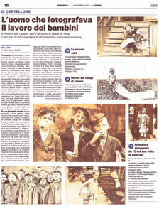 """Il Giorno Milano on newsstands today signals our """"LEWIS HINE. AMERICAN KIDS"""" exhibition on"""