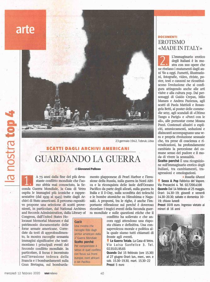 """Giovanni Pelloso descrive per ViviMilano in edicola la nostra mostra """"la Guerra Totale"""""""