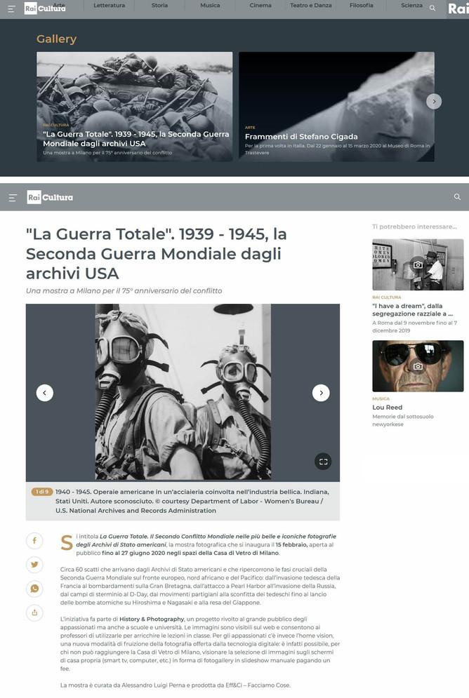 """RaiCultura.it segnala la nostra prossima mostra """"la Guerra Totale"""" anche in home page"""