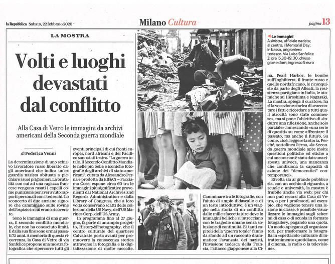 """su Repubblica Milano la recensione di Federica Venni sulla nostra mostra """"la Guerra Totale&quot"""