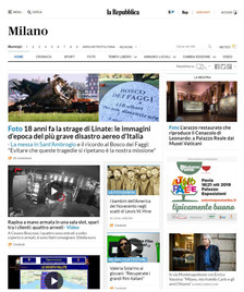 """Repubblica Milano online also reports in its home page the """"LEWIS HINE. AMERICAN KIDS"""" exh"""