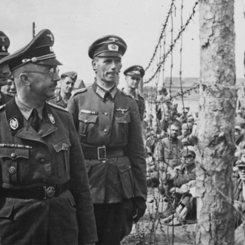 """""""Heinrich Himmler inspects a prisoner of war camp in Russia.""""   Circa 1941  USSR (Russia) Author Unknown or not provided © courtesy Heinrich Hoffman Collection / U.S. National Archives and Records Administration"""