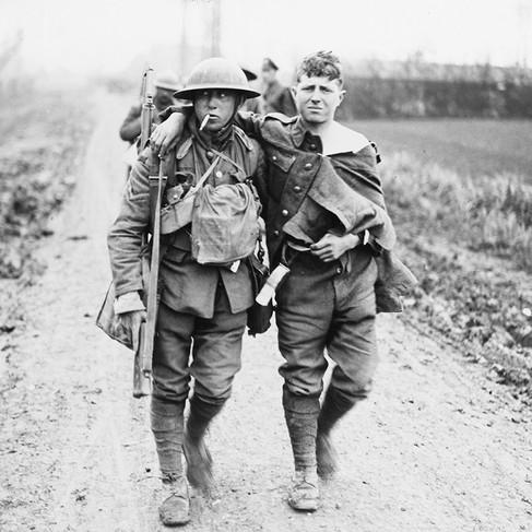 Di ritorno dalla battaglia di Hazebrouck, cittadina nei pressi di Merris, in Francia, sul Fronte Occidentale