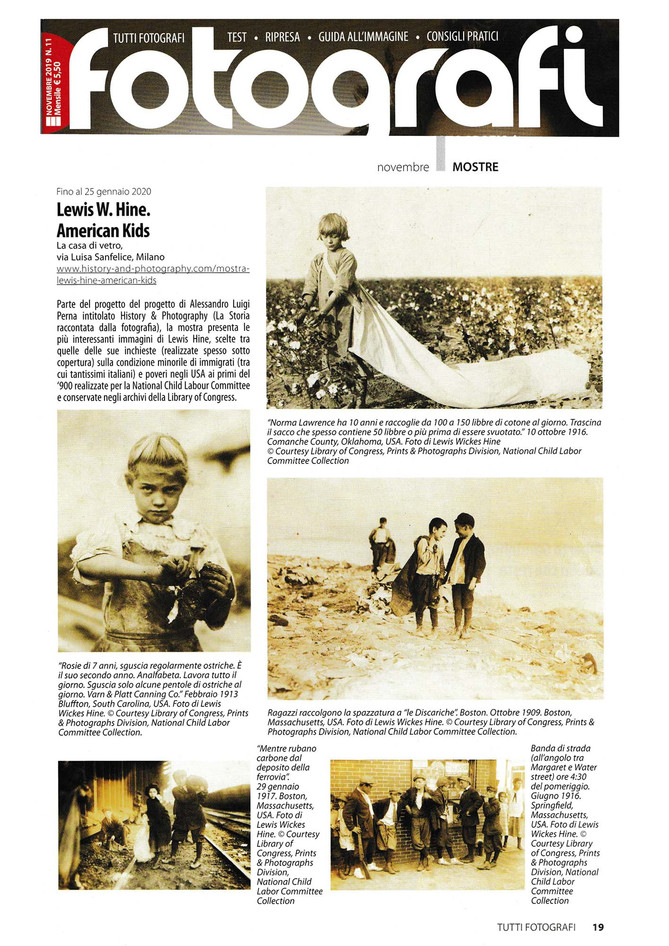 """Tutti Fotografi on newsstands this month with a full page on our """"LEWIS HINE. AMERICAN KIDS&quo"""
