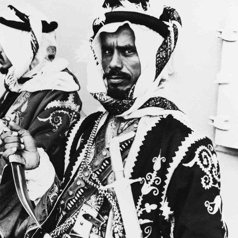"""""""Arabian Bodyguards of King Ibn Saud of Saudi Arabia during his stay aboard USS MURPHY (DD-603) while enroute to a meeting with President Franklin D. Roosevelt aboard USS QUINCY (CA -71).""""   February 1945. Great Bitter Lake,  Suez Canal, Egypt Author unknown or not provided © courtesy Naval History and Heritage Command / Library of Congress"""