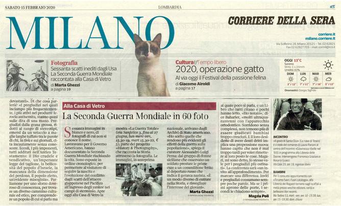 """Nell'edizione Milano del Corriere della Sera in edicola oggi la nostra mostra """"la Guerra To"""