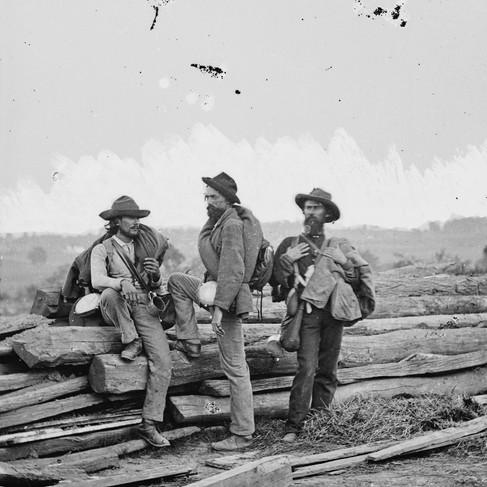 Tre Confederati presi prigionieri durante la battaglia di Gettysburg