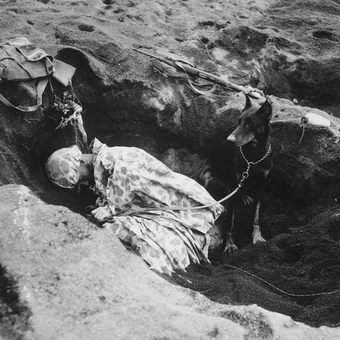 """""""Private First Class Rez P. Hester, 7th War Dog Platoon, 25th Regiment, takes a nap while Butch, his war dog, stands guard""""  February, 1945 Iwo Jima, Ogasawara Archipelago, Japan Author Unknown or not provided © courtesy U.S. Marine Corps / U.S. National Archives and Records Administration"""