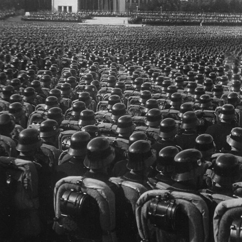 """""""Overview of the mass roll-call of SA, SS and NSKK troops.""""   November 9, 1935 Nuremberg, Germany  Author unknown or not provided © courtesy U.S. National Archives and Records Administration"""