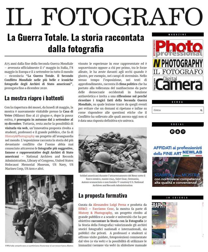 """il Fotografo.it scrive """"LA MOSTRA RIAPRE I BATTENTI"""" #laGuerraTotale a #laCasadiVetro con"""