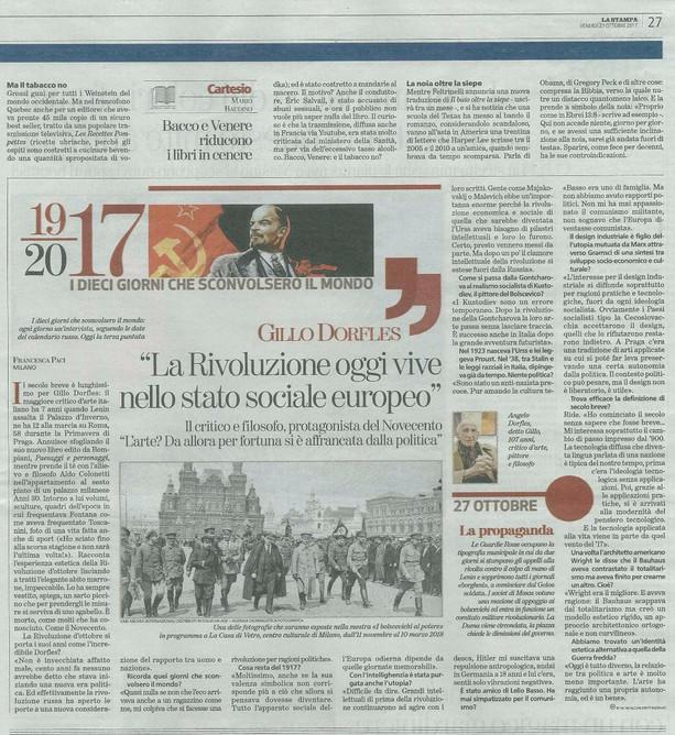 la Stampa 27 ott 2017 i Bolscevichi al potere