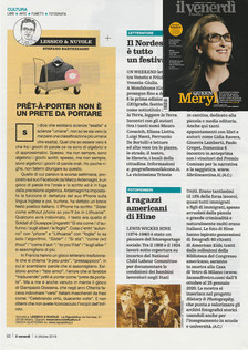 """Repubblica's Venerdì on newsstands today with our """"LEWIS HINE. AMERICAN KIDS"""" exhibiti"""
