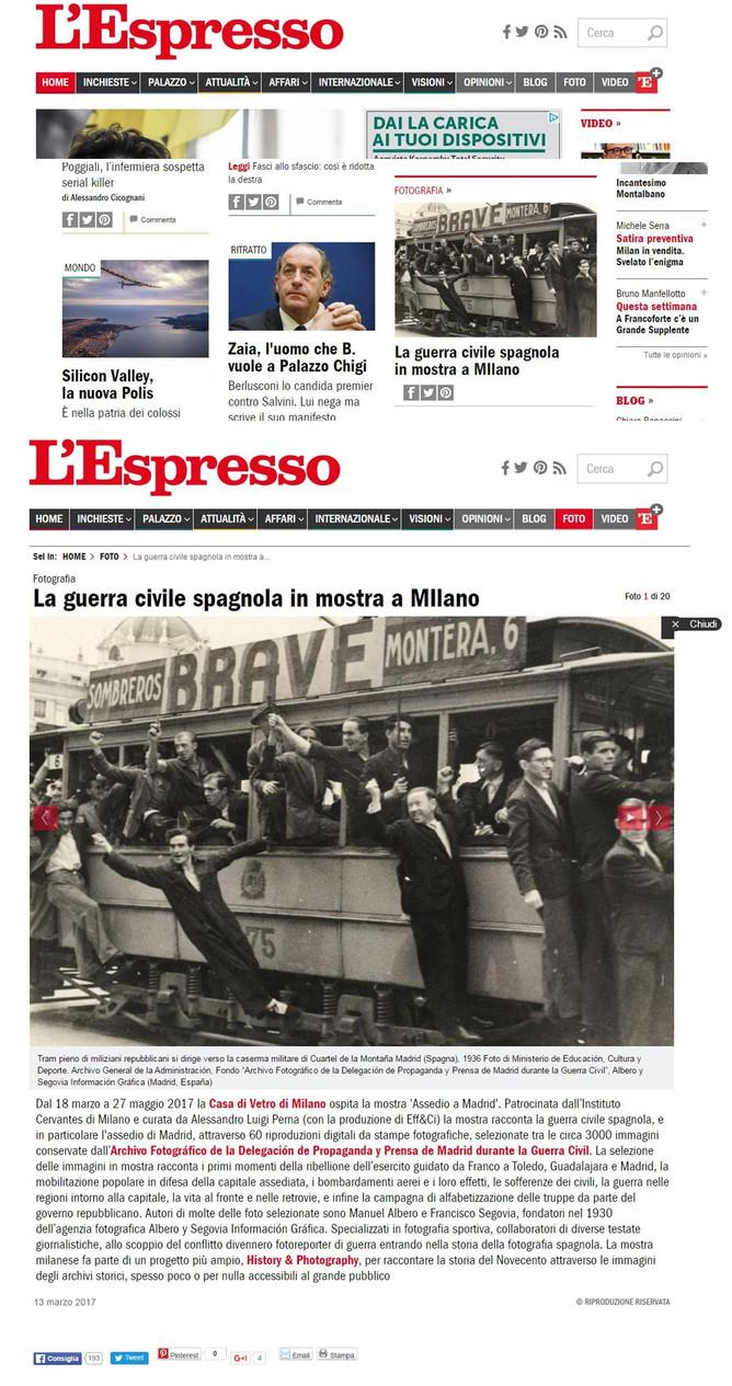 L'Espresso.it ci segnala in home page