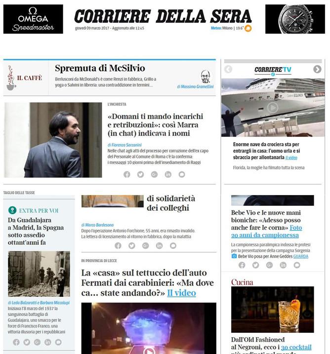 nella Home Page di Corriere.it