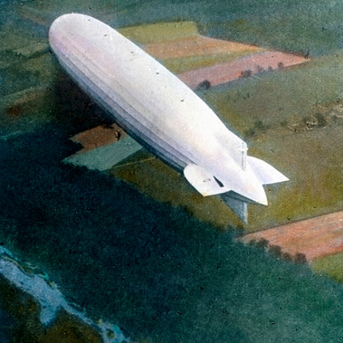 Uno Zeppelin in volo sulla campagna americana