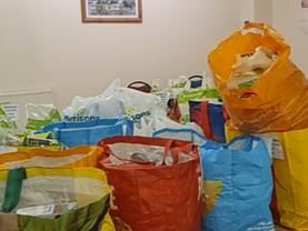 Creating food parcels alongside Hope Newsome Food Bank...