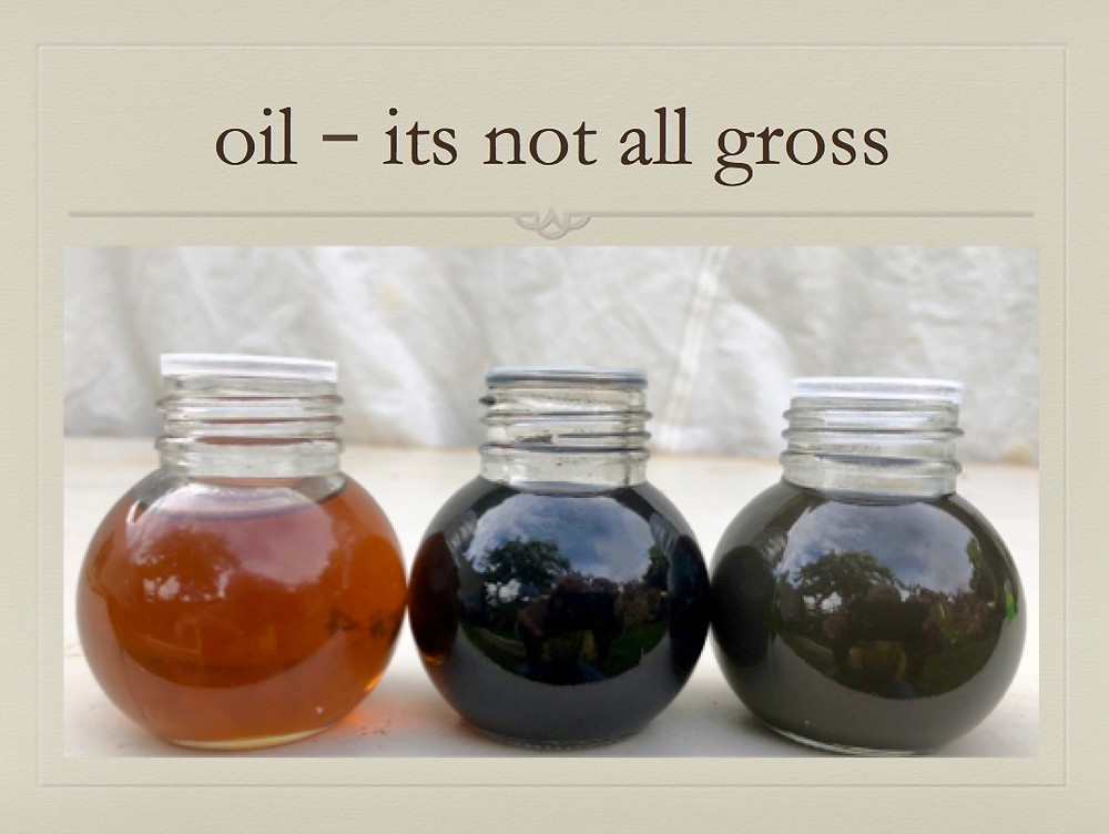 comparison of diesel oil: clean, sooty, water contaminated
