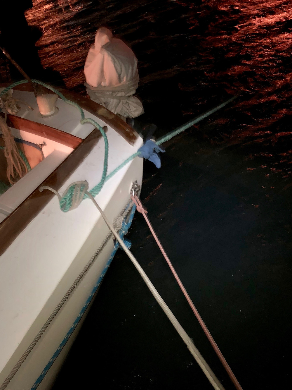dock lines tied to various anchor points