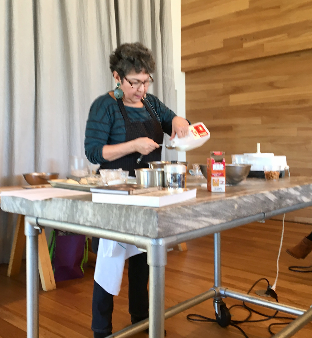 Alice Medrich giving a cookie demonstration at Shed Healdsburg