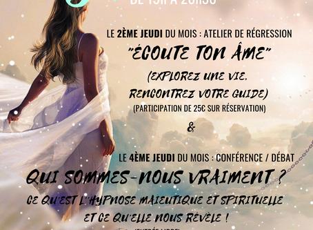 """Jeud'Hypnose : Atelier de régression """"Écoute ton âme"""" le 12 septembre 2019"""