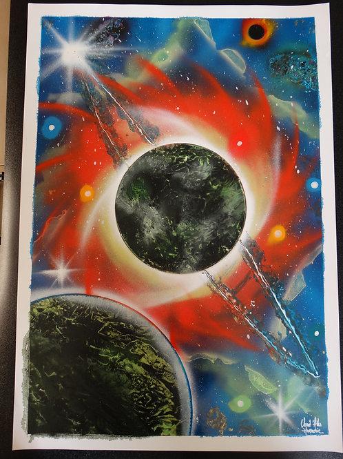 "Peinture bombe ""Univers N°2"""