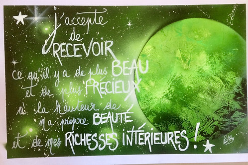 "Peinture bombe ""Citation univers vert"""