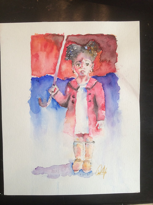 Aquarelle 018 Petite fille au parapluie