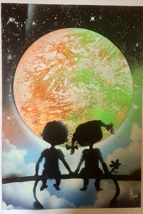 "Peinture bombe ""Couple enfants"""