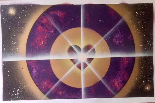 """Peinture bombe """"Coeur violet doré"""""""