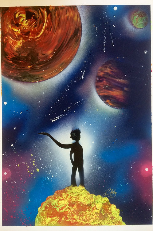 "Peinture bombe ""Petit prince univers"""