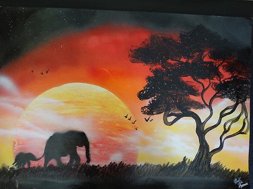 """Peinture bombe """"Eléphants"""""""