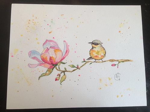 Aquarelle 081 MH oiseau et fleur