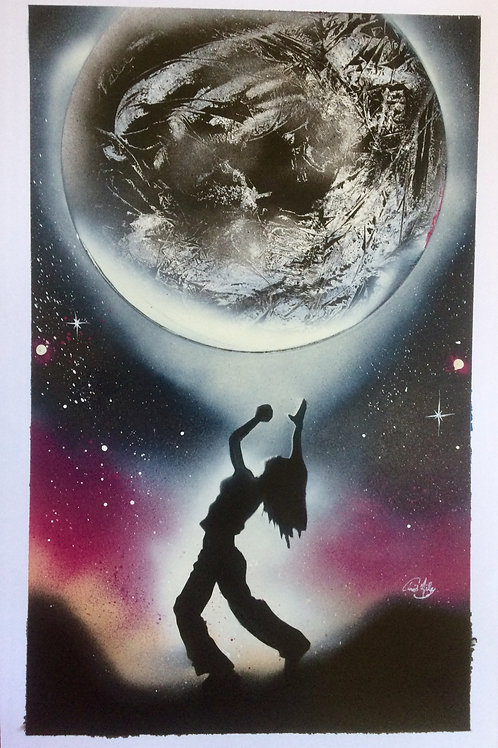 "Peinture bombe ""Symbiose avec la lune"""