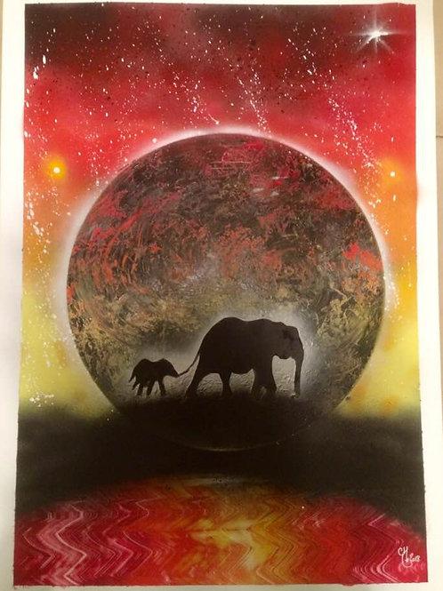 """Peinture bombe """"Eléphants N°2"""""""