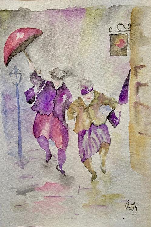 Aquarelle 006 Danse sous la pluie
