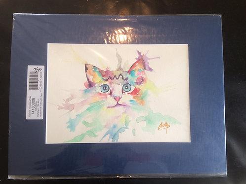 Aquarelle 049 Chat en couleurs