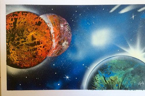 "Peinture bombe ""Univers N°4"""