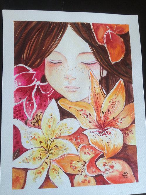 Aquarelle 074 MH jeune fille aux fleurs