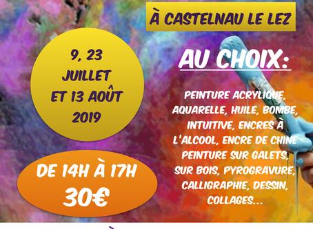 """Ateliers """"Créatifs"""" les mardis 9, 23 juillet et 13 août 2019"""