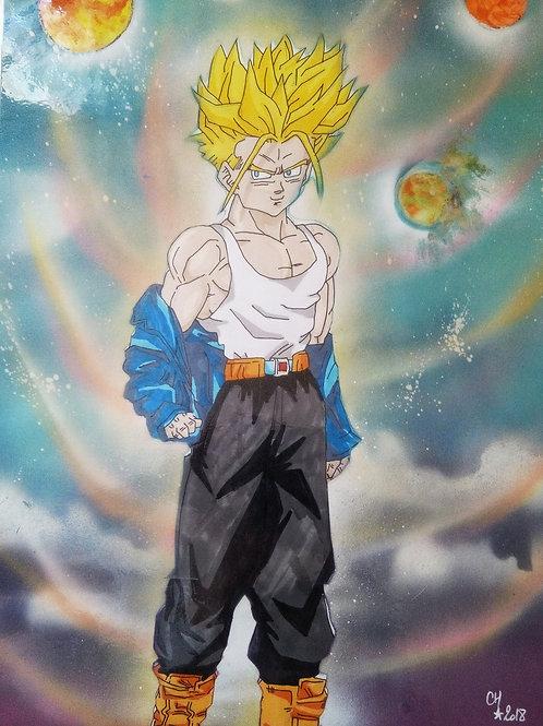 "Peinture bombe et dessin plastifié ""Dragon Ball N°1"""