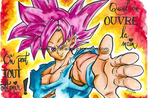101 Goku citation ouvre la main