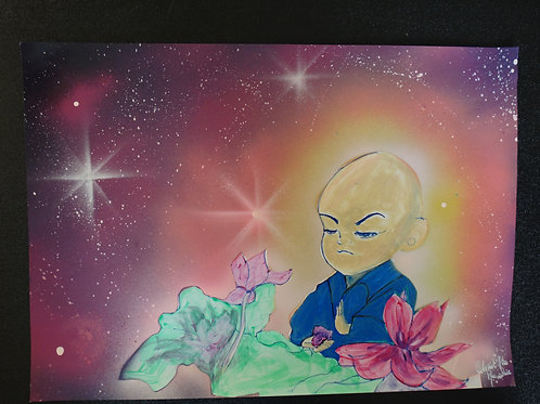 "Peinture bombe et dessin ""Petit moine"""