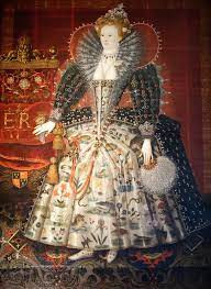 Elizabeth I Hardwick portrait painted around 1599 in the studio of the English goldsmith and painter, Nicholas Hilliard.