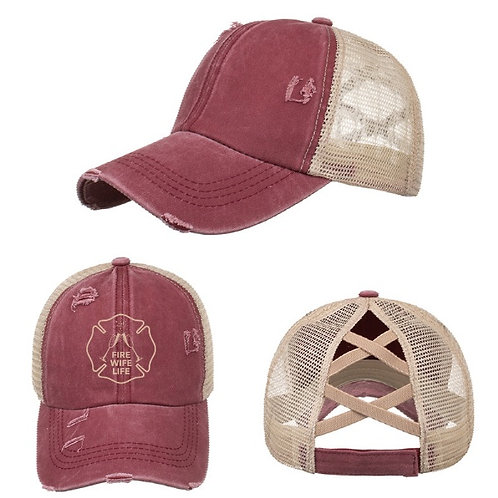 Vintage Embroidered Logo Hat with Ponytail Back