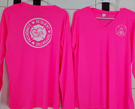 Fire Wife Life L/S Tee - Neon Pink