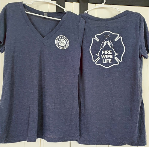 Fire Wife Life T-Shirt - Vintage Blue