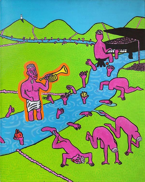 """""""The Announcement""""/ Acrylic Paint / 1.20 x 100 cm"""