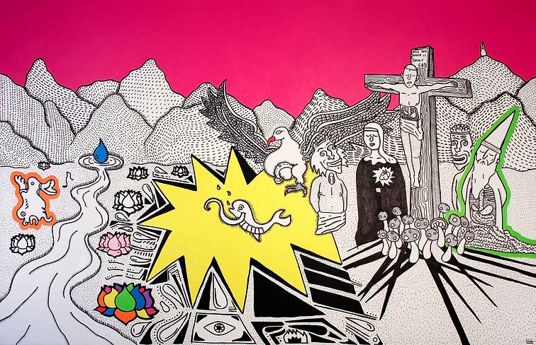 """Crucifixion"" / Acrylic Paint / 1.50 x 200 cm"